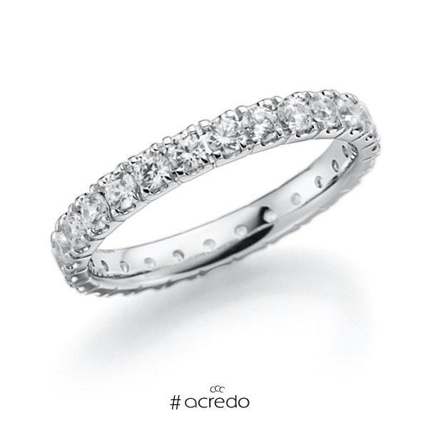 Memoire/Diamantring in Weißgold 585 vollausgefasst mit zus. 1,61 ct. Brillant tw, vs von acredo