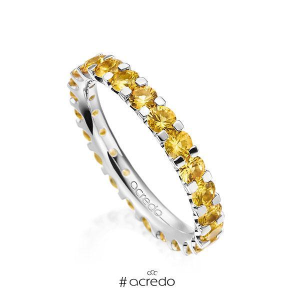 Memoire/Diamantring in Weißgold 585 vollausgefasst mit zus. 2,07 ct. Brillant Saphir Gelb (A 8) von acredo