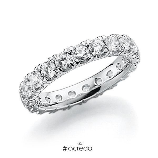 Memoire/Diamantring in Weißgold 585 vollausgefasst mit zus. 2,2 ct. Brillant tw, vs von acredo