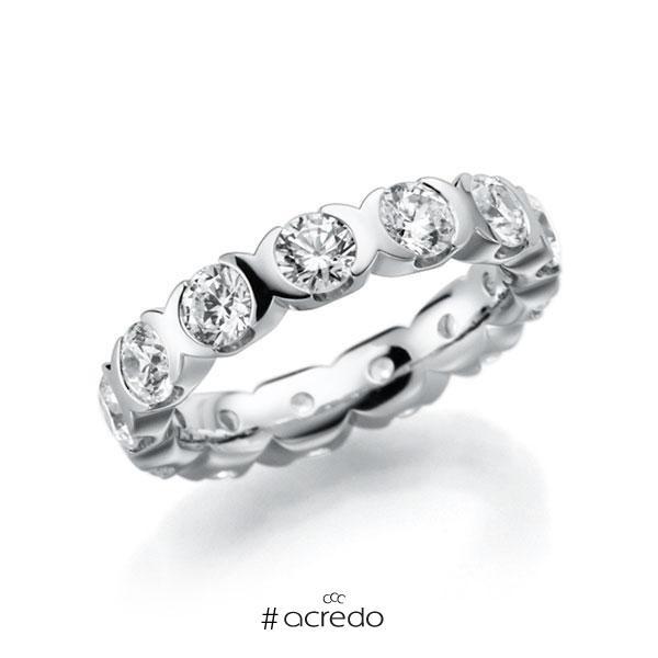 Memoire/Diamantring in Weißgold 585 vollausgefasst mit zus. 2,6 ct. Brillant tw, vs von acredo
