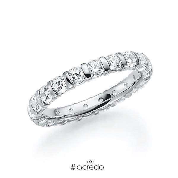 Memoire/Diamantring in Weißgold 585 vollausgefasst mit zus. 2 ct. Brillant tw, vs von acredo