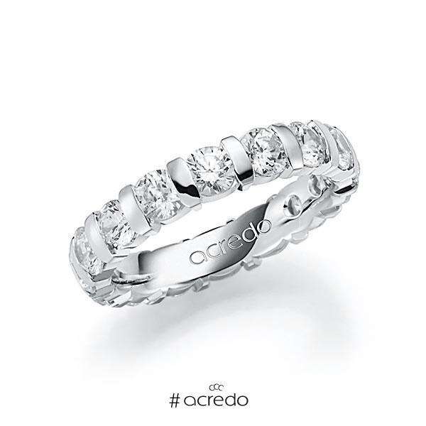 Memoire/Diamantring in Weißgold 585 vollausgefasst mit zus. 3,2 ct. Brillant tw, vs von acredo