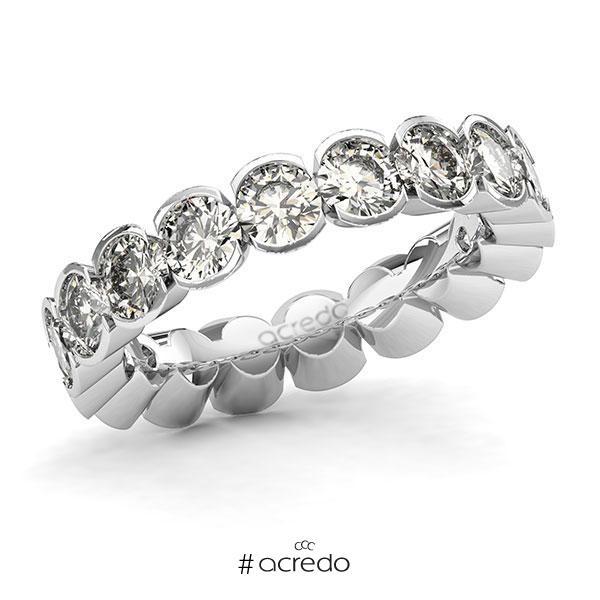 Memoire/Diamantring in Weißgold 585 vollausgefasst mit zus. 3,6 ct. Brillant tw, si von acredo