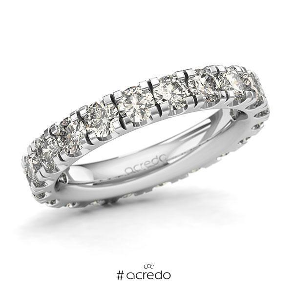 Memoire/Diamantring in Weißgold 585 vollausgefasst mit zus. 3 ct. Brillant tw, si von acredo