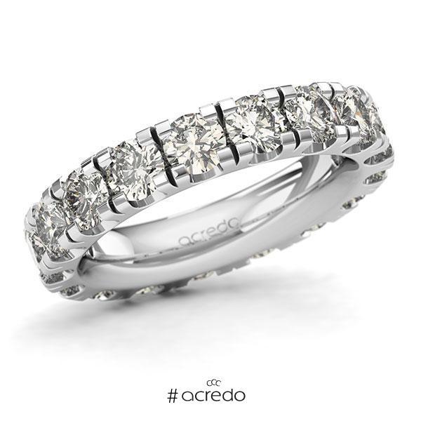 Memoire/Diamantring in Weißgold 585 vollausgefasst mit zus. 4,5 ct. Brillant tw, si von acredo