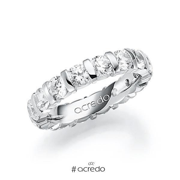 Memoire/Diamantring in Weißgold 585 vollausgefasst mit zus. 4 ct. Brillant tw, vs von acredo