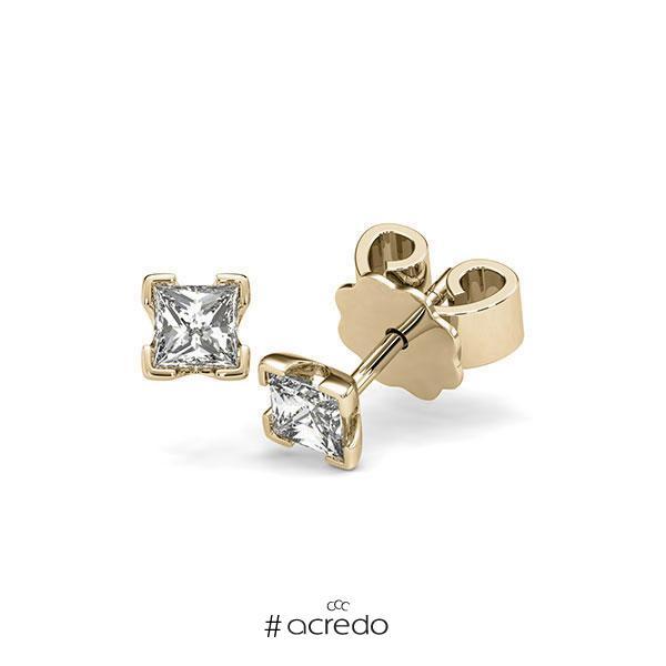 Ohrstecker 4-eckige Stotzen in Gelbgold 585 mit 2x 0,3 ct. Prinzess-Diamant tw, vs von acredo
