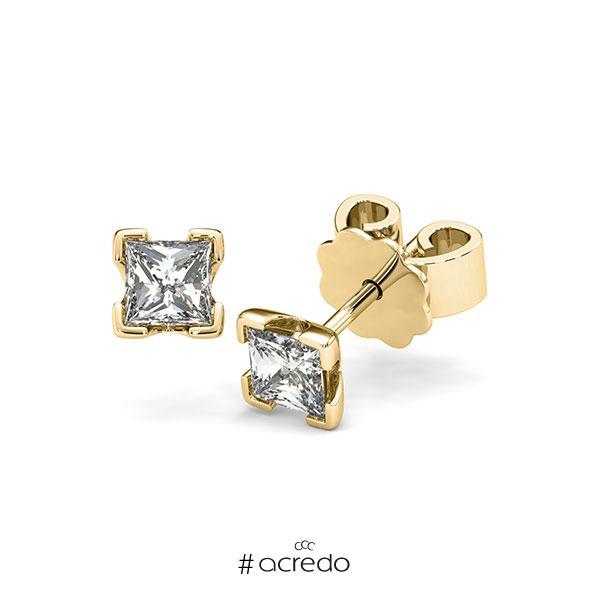 Ohrstecker 4-eckige Stotzen in Gelbgold 585 mit 2x 0,4 ct. Prinzess-Diamant tw, vs von acredo