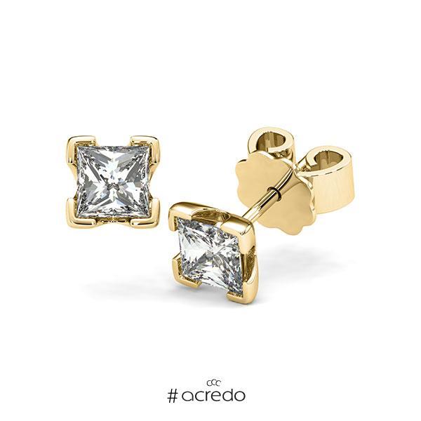 Ohrstecker 4-eckige Stotzen in Gelbgold 585 mit 2x 0,7 ct. Prinzess-Diamant tw, vs von acredo