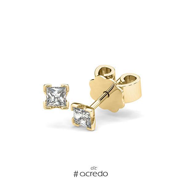 Ohrstecker 4-eckige Stotzen in Gelbgold 585 mit zus. 0,3 ct. Prinzess-Diamant tw, si von acredo