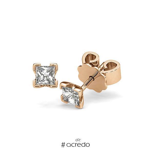 Ohrstecker 4-eckige Stotzen in Roségold 585 mit 2x 0,3 ct. Prinzess-Diamant tw, vs von acredo