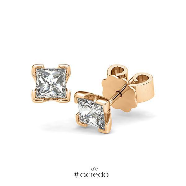 Ohrstecker 4-eckige Stotzen in Roségold 585 mit 2x 0,5 ct. Prinzess-Diamant tw, vs von acredo
