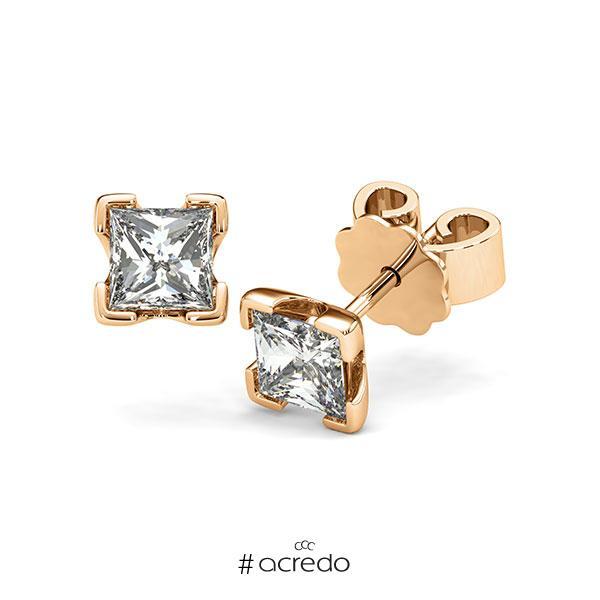 Ohrstecker 4-eckige Stotzen in Roségold 585 mit 2x 0,7 ct. Prinzess-Diamant tw, vs von acredo