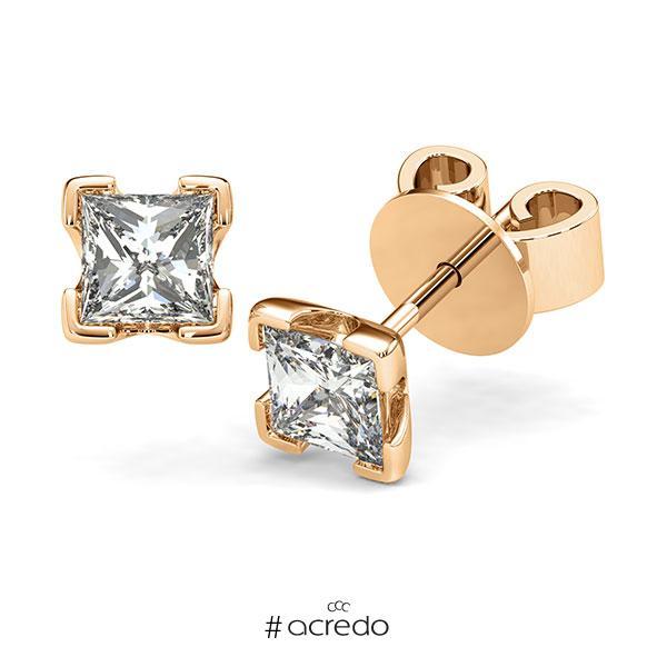 Ohrstecker 4-eckige Stotzen in Roségold 585 mit 2x 1 ct. Prinzess-Diamant tw, vs von acredo