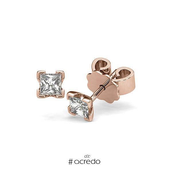 Ohrstecker 4-eckige Stotzen in Rotgold 585 mit 2x 0,3 ct. Prinzess-Diamant tw, vs von acredo