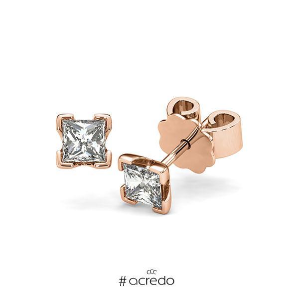 Ohrstecker 4-eckige Stotzen in Rotgold 585 mit 2x 0,4 ct. Prinzess-Diamant tw, vs von acredo