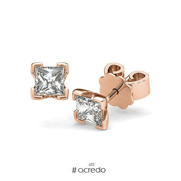 Ohrstecker 4-eckige Stotzen in Rotgold 585 mit 2x 0,5 ct. Prinzess-Diamant tw, vs von acredo