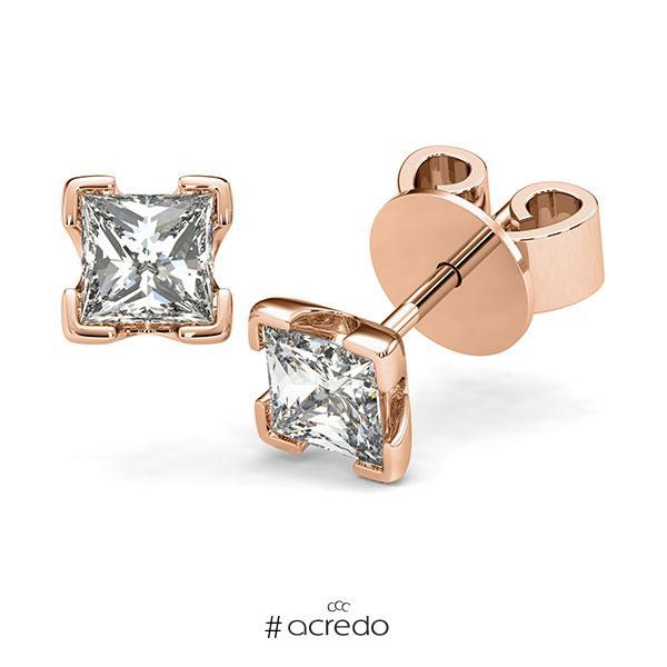 Ohrstecker 4-eckige Stotzen in Rotgold 585 mit 2x 1 ct. Prinzess-Diamant tw, vs von acredo