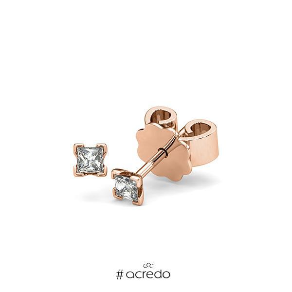 Ohrstecker 4-eckige Stotzen in Rotgold 585 mit zus. 0,2 ct. Prinzess-Diamant tw, si von acredo