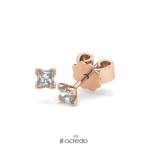 Ohrstecker 4-eckige Stotzen in Rotgold 585 mit zus. 0,3 ct. Prinzess-Diamant tw, si von acredo