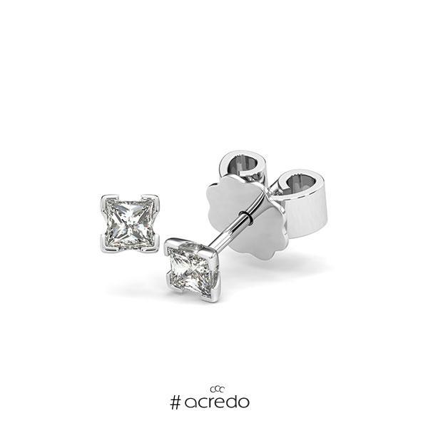 Ohrstecker 4-eckige Stotzen in Weißgold 585 mit zus. 0,3 ct. Prinzess-Diamant tw, si von acredo