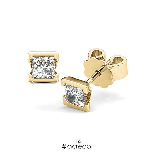 Ohrstecker Geraden in Gelbgold 585 mit 2x 0,4 ct. Prinzess-Diamant tw, vs von acredo