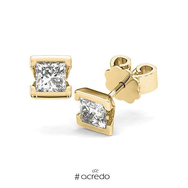 Ohrstecker Geraden in Gelbgold 585 mit 2x 0,5 ct. Prinzess-Diamant tw, vs von acredo