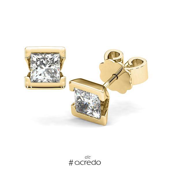 Ohrstecker Geraden in Gelbgold 585 mit 2x 0,7 ct. Prinzess-Diamant tw, vs von acredo
