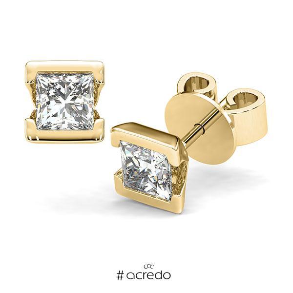 Ohrstecker Geraden in Gelbgold 585 mit 2x 1 ct. Prinzess-Diamant tw, vs von acredo