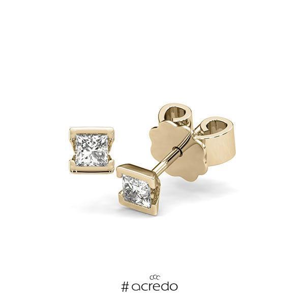 Ohrstecker Geraden in Gelbgold 585 mit zus. 0,4 ct. Prinzess-Diamant tw, si von acredo