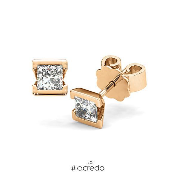 Ohrstecker Geraden in Roségold 585 mit 2x 0,4 ct. Prinzess-Diamant tw, vs von acredo