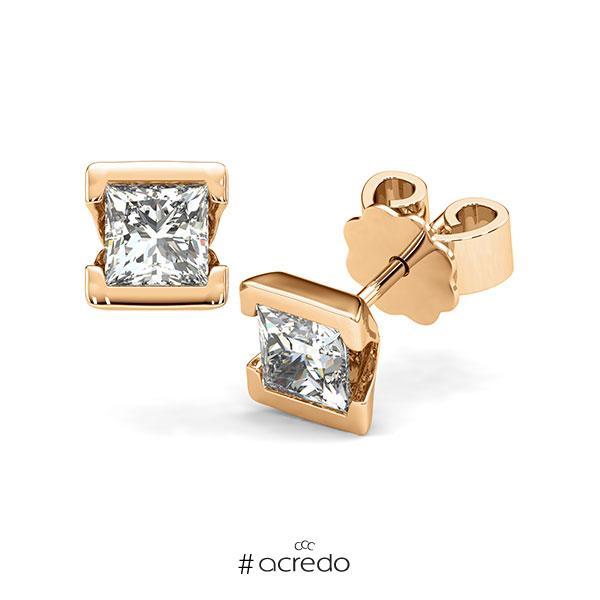 Ohrstecker Geraden in Roségold 585 mit 2x 0,7 ct. Prinzess-Diamant tw, vs von acredo