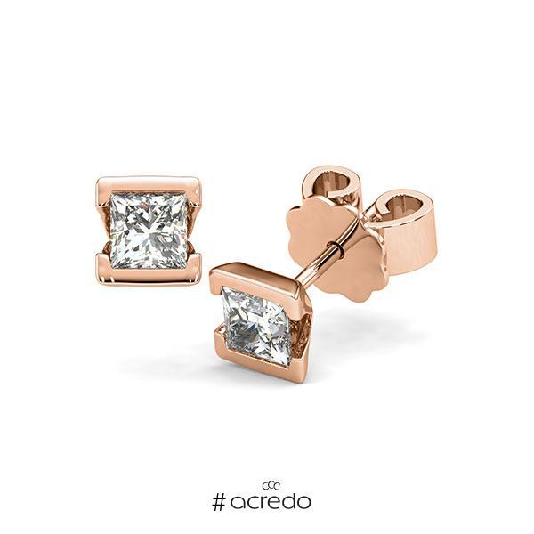 Ohrstecker Geraden in Rotgold 585 mit 2x 0,4 ct. Prinzess-Diamant tw, vs von acredo