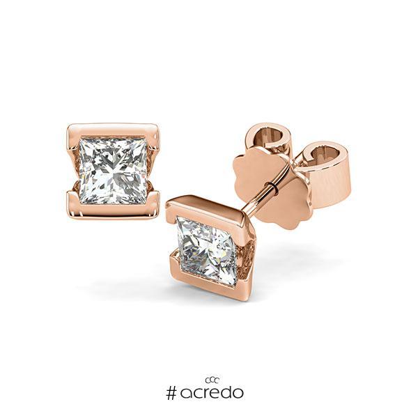 Ohrstecker Geraden in Rotgold 585 mit 2x 0,5 ct. Prinzess-Diamant tw, vs von acredo