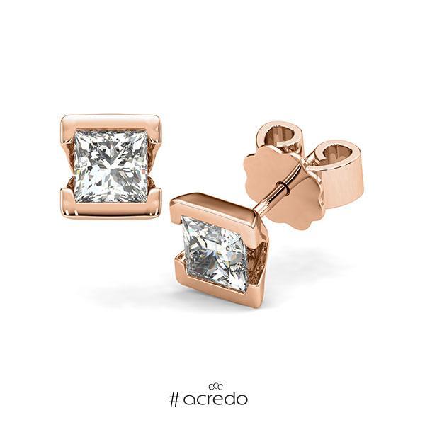 Ohrstecker Geraden in Rotgold 585 mit 2x 0,7 ct. Prinzess-Diamant tw, vs von acredo