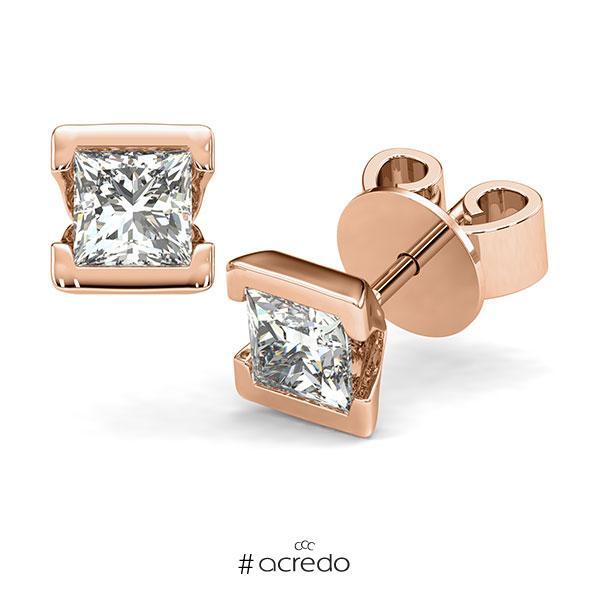 Ohrstecker Geraden in Rotgold 585 mit 2x 1 ct. Prinzess-Diamant tw, vs von acredo