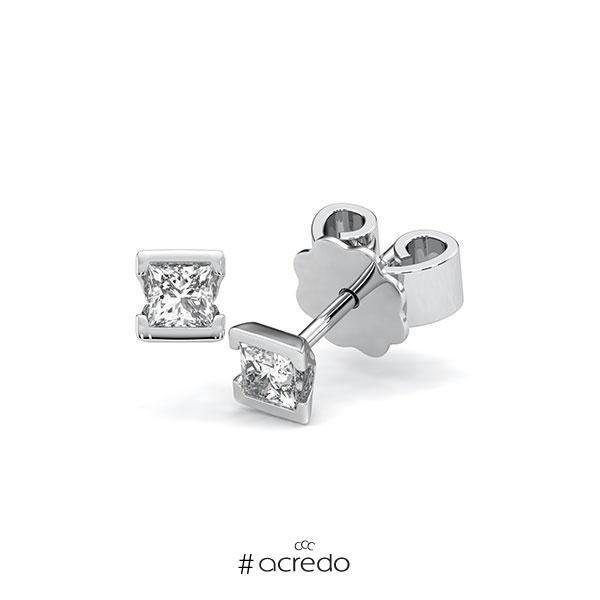 Ohrstecker Geraden in Weißgold 585 mit zus. 0,4 ct. Prinzess-Diamant tw, si von acredo