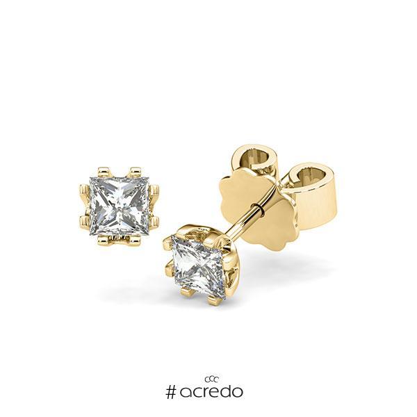 Ohrstecker in Gelbgold 585 mit 2x 0,4 ct. Prinzess-Diamant tw, vs von acredo