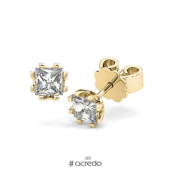 Ohrstecker in Gelbgold 585 mit 2x 0,5 ct. Prinzess-Diamant tw, vs von acredo