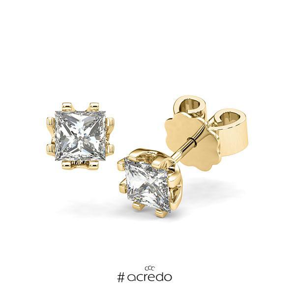 Ohrstecker in Gelbgold 585 mit 2x 0,7 ct. Prinzess-Diamant tw, vs von acredo