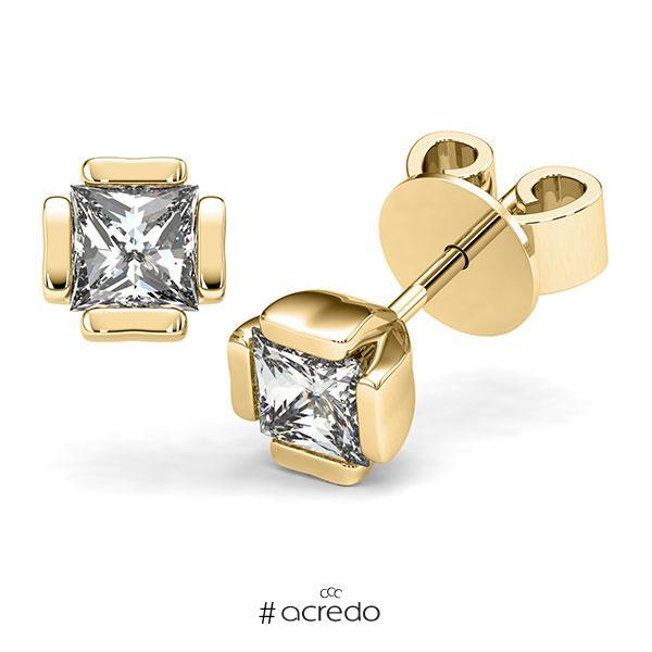 Ohrstecker in Gelbgold 585 mit 2x 1 ct. Prinzess-Diamant tw, vs von acredo