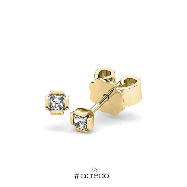 Ohrstecker in Gelbgold 585 mit zus. 0,2 ct. Prinzess-Diamant tw, si von acredo