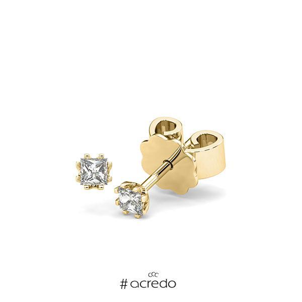 Ohrstecker in Gelbgold 585 mit zus. 0,2 ct. Prinzess-Diamant tw, vs von acredo