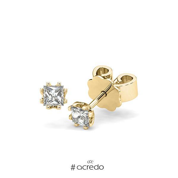 Ohrstecker in Gelbgold 585 mit zus. 0,4 ct. Prinzess-Diamant tw, vs von acredo