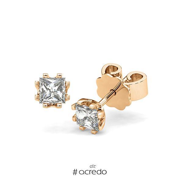 Ohrstecker in Roségold 585 mit 2x 0,4 ct. Prinzess-Diamant tw, vs von acredo