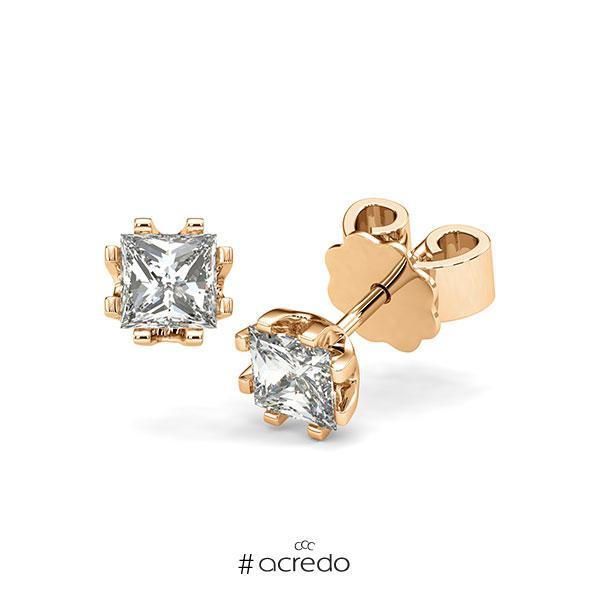 Ohrstecker in Roségold 585 mit 2x 0,5 ct. Prinzess-Diamant tw, vs von acredo