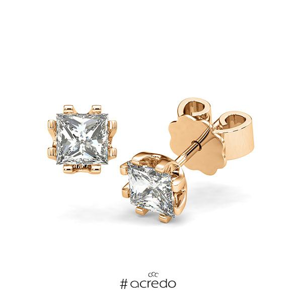 Ohrstecker in Roségold 585 mit 2x 0,7 ct. Prinzess-Diamant tw, vs von acredo