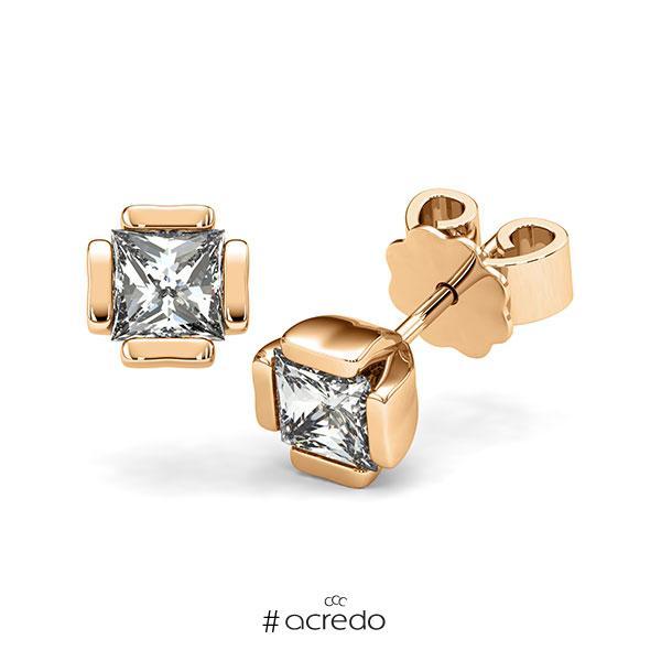 Ohrstecker in Roségold 585 mit 2x 0,7 ct. Prinzess-Diamant tw, vs von acredo