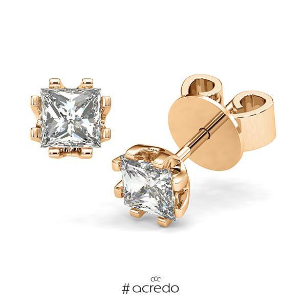 Ohrstecker in Roségold 585 mit 2x 1 ct. Prinzess-Diamant tw, vs von acredo