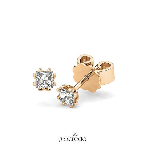 Ohrstecker in Roségold 585 mit zus. 0,4 ct. Prinzess-Diamant tw, vs von acredo